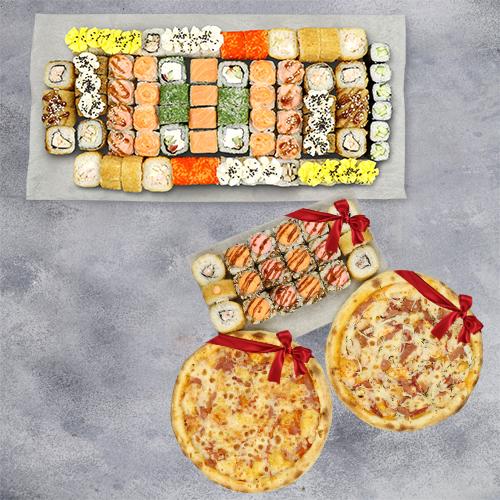 Мега сет + набор из трех роллов и двух пицц из группы эконом в подарок