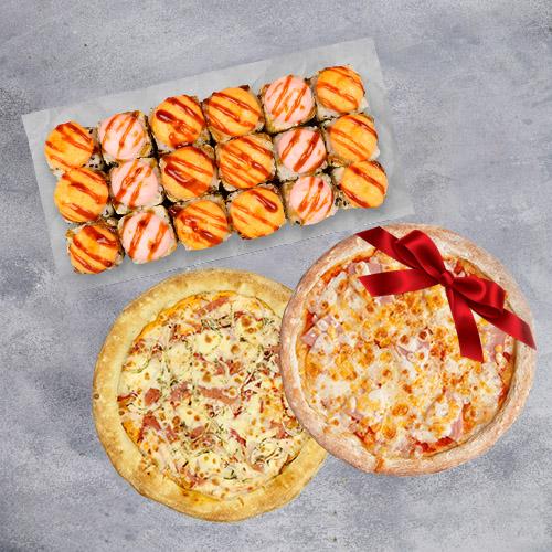 Комбо 2 пиццы и набор (2 пиццы на традиционном тесте и набор роллов из группы «Экономия»)