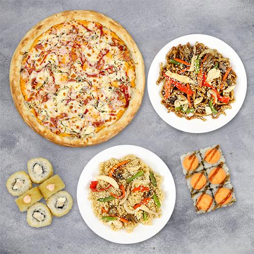 Комбо «2 ролла+ большая пицца +2 вока»