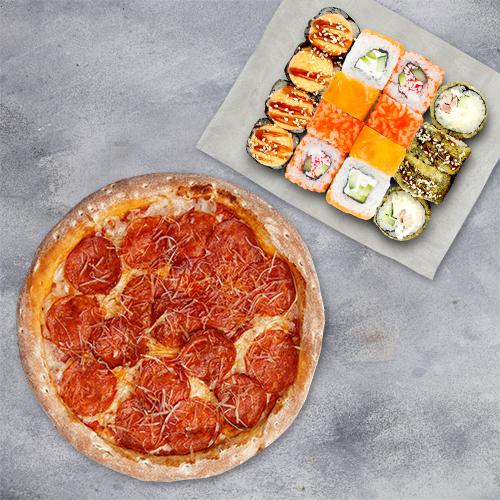 Комбо «Хитовое» ( 4 вкуса роллов+пицца 21см) из группы Вкуснее