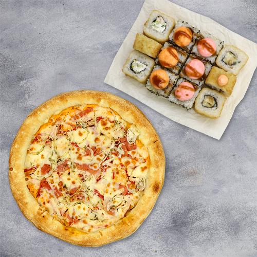 Комбо «Лучшая пара» ( 4 вкуса роллов+пицца 21 см) из группы «ЭКОНОМиЯ»