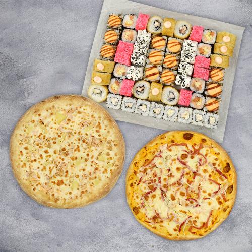 Комбо Большое №2 (1430 г / 56 шт + 2 пиццы на тонком тесте из группы «Экономия»)