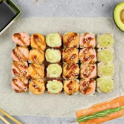 Набор теплых роллов Фламинго (730 г / 24 шт) из группы «Вкуснее»
