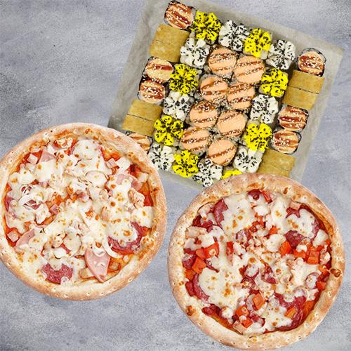 Комбо Гармония №2 (1070 г / 40 шт + 2 пиццы 21 см из группы «Вкуснее»)