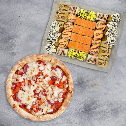 Комбо Гурман №1 (1065 г / 40 шт и пицца 21 см из группы «Вкуснее»)
