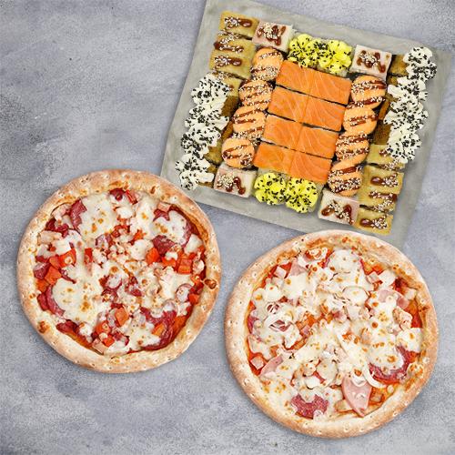 Комбо Гурман №2 (1065 г / 40 шт + 2 пиццы 21 см из группы «Вкуснее»)