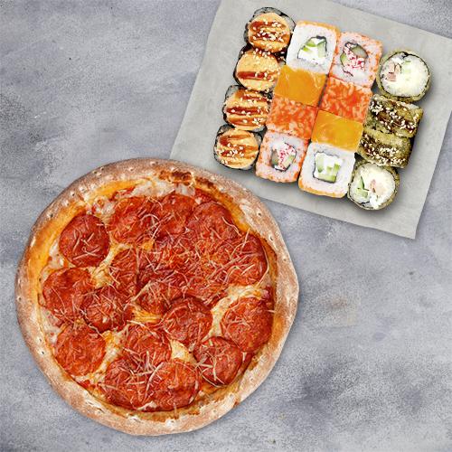Комбо Хитовое (4 вкуса роллов + пицца 21см из группы «Вкуснее»)