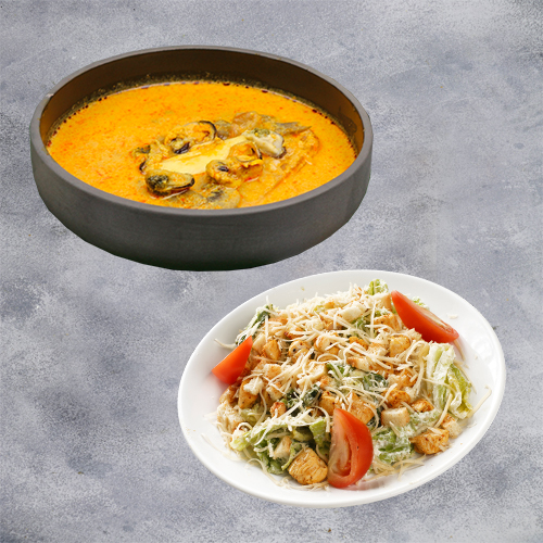 Комбо Для гурманов (том ям с морепродуктами + салат цезарь с курицей)
