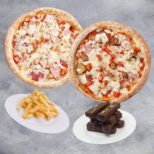Комбо Веселье (2 пиццы 21см + картофель фри + чесночные гренки)