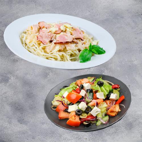 Комбо Западное (паста карбонара + салат греческий)