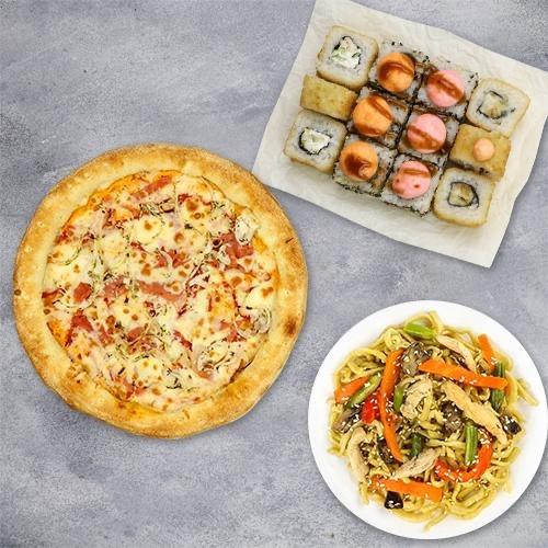 Комбо «Трио» ( 4 вкуса роллов+пицца 21 см+вок) из группы ЭКОНОМиЯ