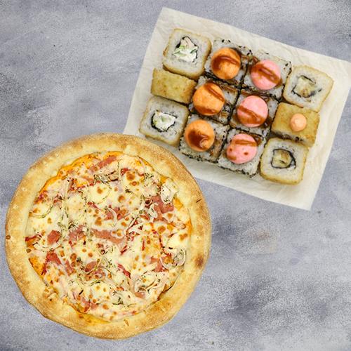 Комбо Лучшая пара (4 вкуса роллов + пицца на традиционном тесте из группы «Экономия»)