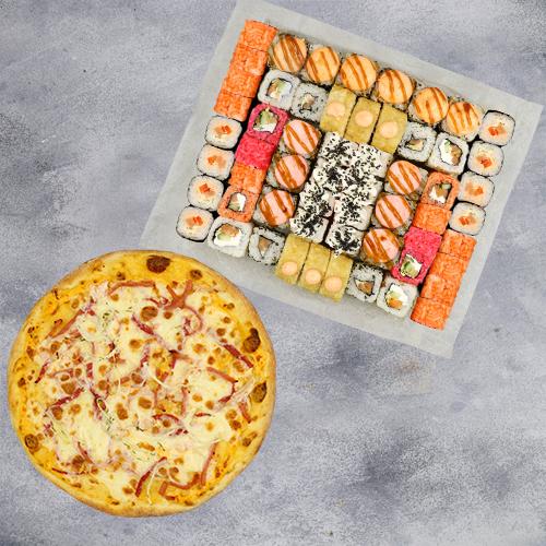 Комбо Мы вместе №1 (1445 г / 58 шт + пицца на тонком тесте из группы «Экономия»)
