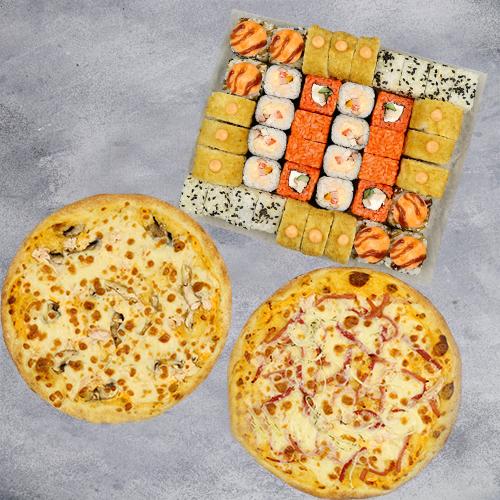 Комбо Фейерверк №2 (1070 г / 42 шт + 2 пиццы на тонком тесте из группы «Экономия»)