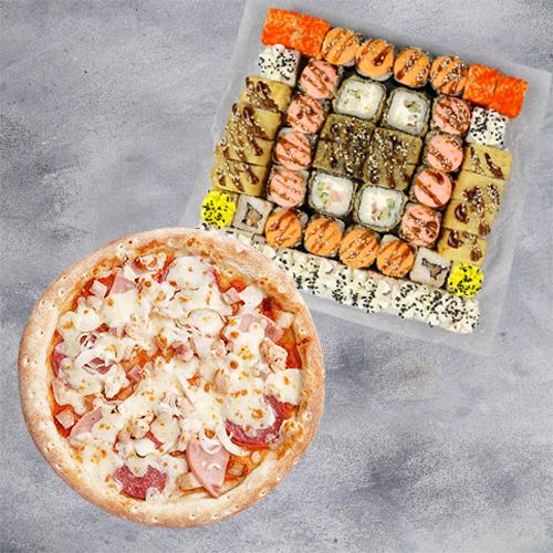 Комбо Пока все дома №1 (1400 г / 52 шт + пицца 21см из группы «Вкуснее»)