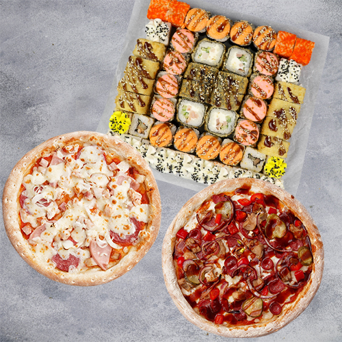 Комбо Пока все дома №2 (1400 г / 52 шт + 2 пиццы 21см из группы «Вкуснее»)