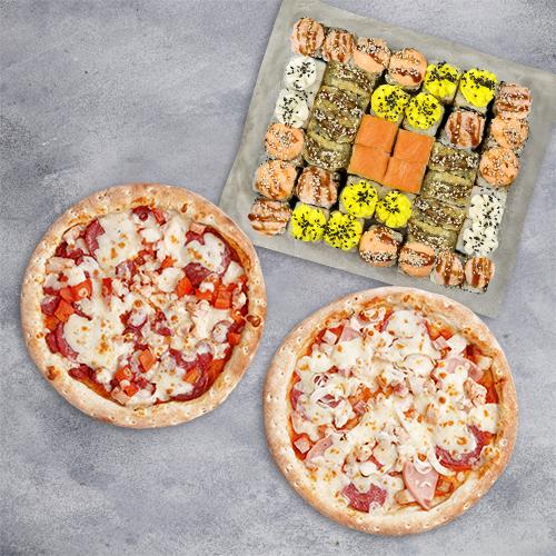 Комбо Приятная встреча №2 (1095 г / 40 шт + 2 пиццы 21 см из группы «Вкуснее»)