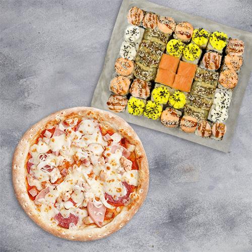 Комбо Приятная встреча №1 (1095 г / 40 шт + пицца 21 см из группы «Вкуснее»)