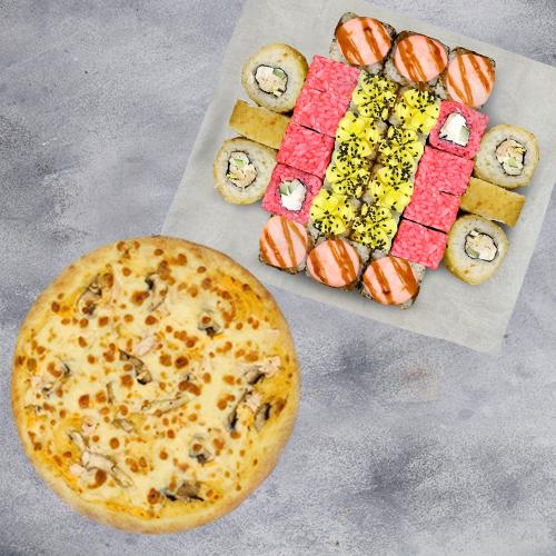 Комбо Счастливое №1 (725 г / 28 шт + пицца на тонком тесте из группы «Экономия»)