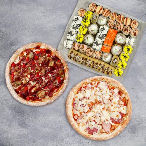 Комбо Счастливый случай №2 (1410 г / 52 шт + 2 пиццы 21 см из группы «Вкуснее»)