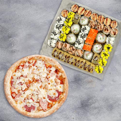 Комбо Счастливый случай №1 (1410 г / 52 шт + пицца 21 см из группы «Вкуснее»)