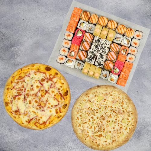 Комбо Мы вместе №2 (1445 г / 58 шт + 2 пиццы на тонком тесте из группы «Экономия»)
