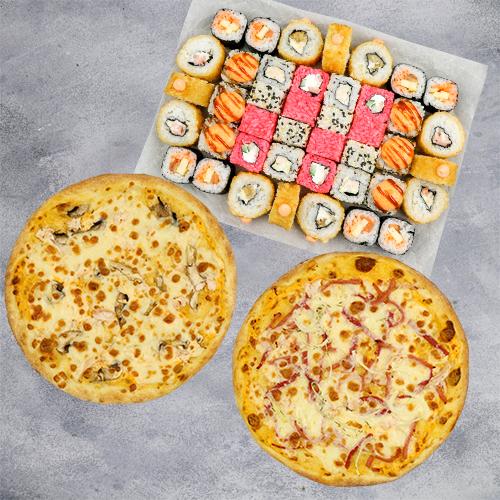 Комбо Сытное №2 (1075 г / 42 шт + 2 пиццы на тонком тесте из группы «Экономия»)
