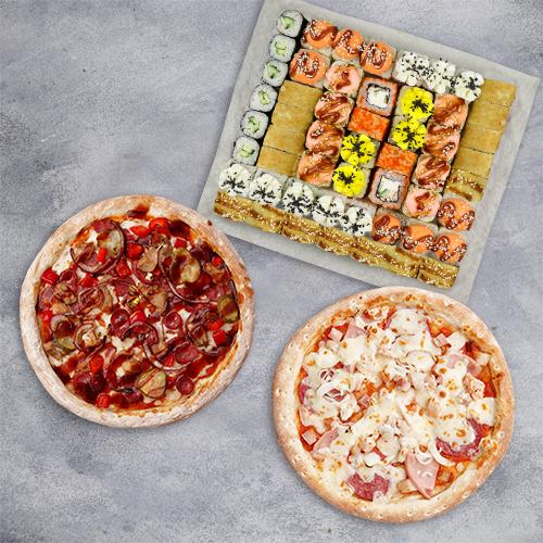 Комбо Твой выбор №2 (1410 г / 54 шт + 2 пиццы 21 см из группы «Вкуснее»)