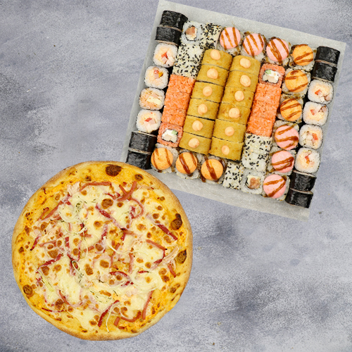 Комбо Все хорошо №1 (1425 г / 56 шт + пицца на тонком тесте из группы «Экономия»)