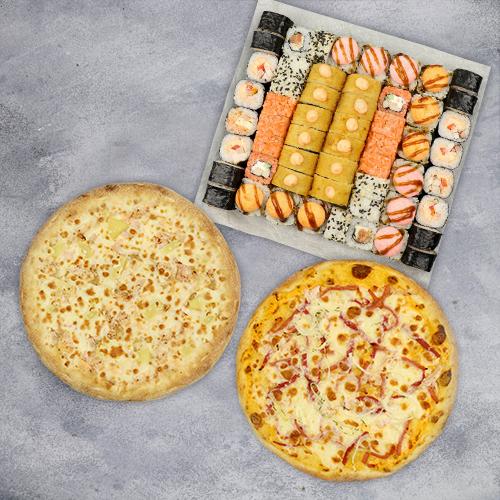 Комбо Все хорошо №2 (1425 г / 56 шт + 2 пиццы на тонком тесте из группы «Экономия»)