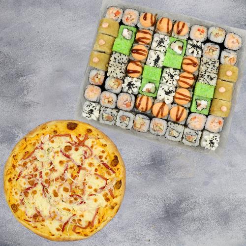 Комбо Встреча №1 (1415 г / 58 шт + пицца на тонком тесте из группы «Экономия»)