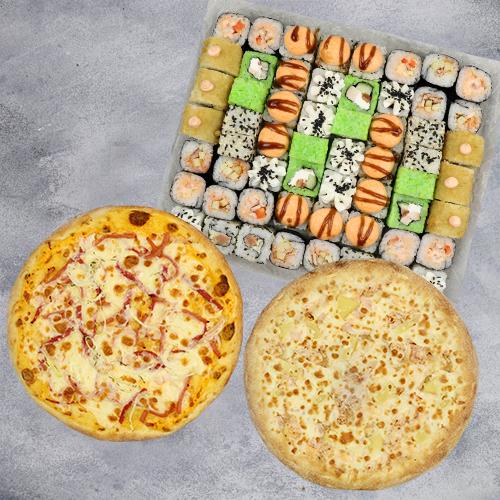 Комбо Встреча №2 (1415 г / 58 шт + 2 пиццы на тонком тесте из группы «Экономия»)