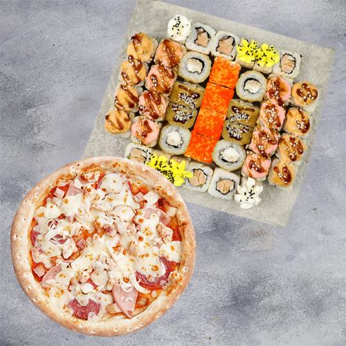Комбо Яркое №1 (1120 г / 40 шт + пицца 21см из группы «Вкуснее»)