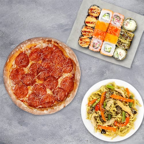 Комбо «Хитовое» ( 4 вкуса роллов+пицца 21см+вок) из группы Вкуснее