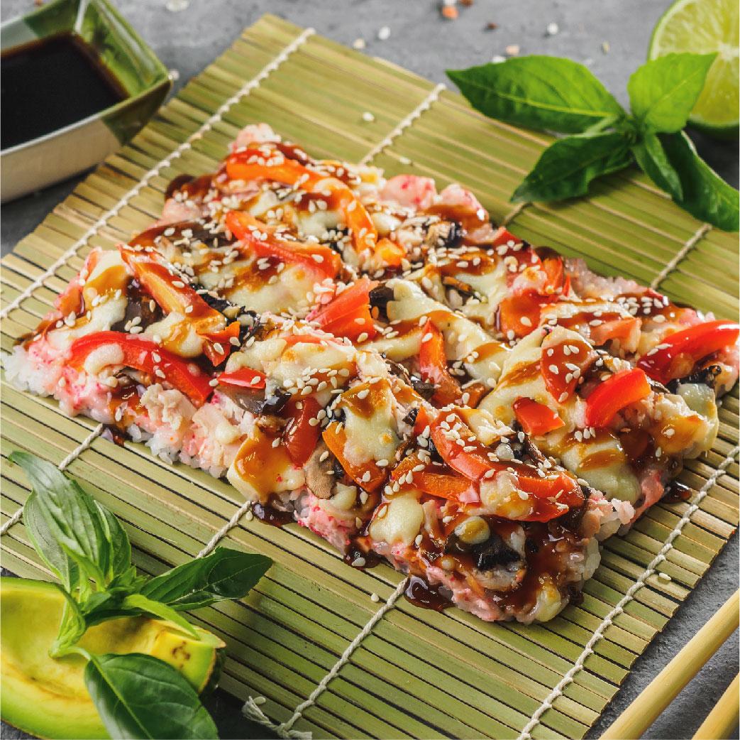Японская пицца с угрем